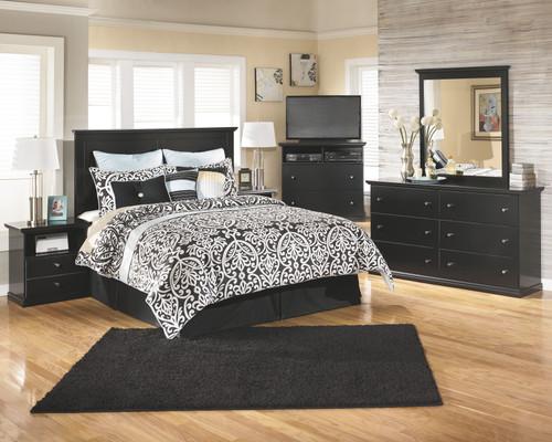 Maribel Black 4 Pc. Dresser, Mirror & King Panel Headboard with Bolt on Bed Frame