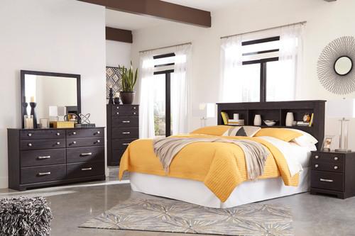 Reylow Dark Brown 5 Pc. Dresser, Mirror, Chest & King Bookcase Headboard with Bolt on Bed Frame