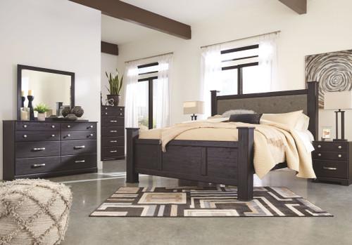 Reylow Dark Brown 6 Pc. Dresser, Mirror & King Upholstered Poster Bed