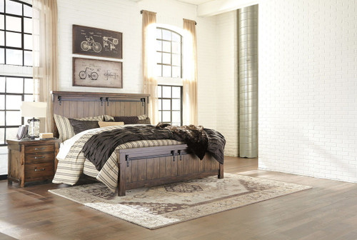 Lakeleigh Brown 4 Pc. King Panel Bed & Nightstand