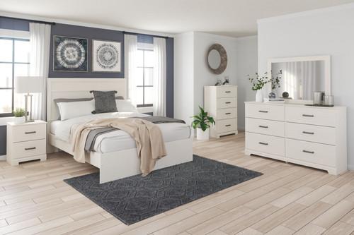 Stelsie White 7 Pc. Dresser, Mirror, Chest, King Panel Bed, 2 Nightstands