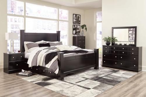Mirlotown Almost Black 7 Pc. Dresser, Mirror, King Poster Bed with Storage