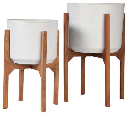 Dorcey White/Brown Planter Set (2/CN)