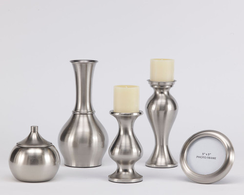 Rishona Brushed Silver Finish Accessory Set