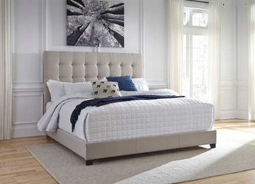 Contemporary Beige Upholstered Queen Bed