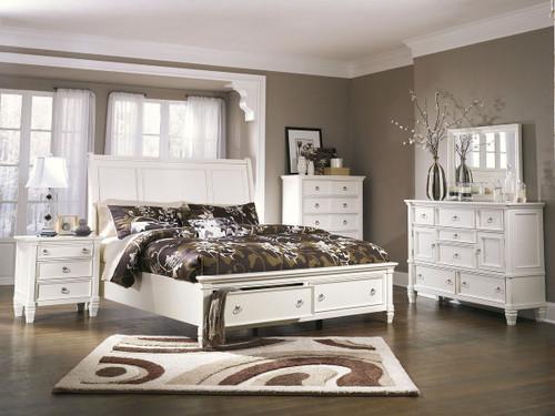 Prentice White 6 Pc. Dresser, Mirror, Chest & King Sleigh Storage Bed