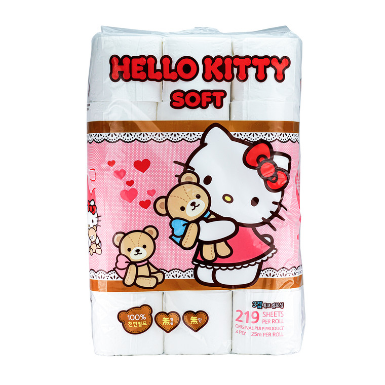 Hello Kitty Soft Toilet Paper - 30 Rolls 3 ply