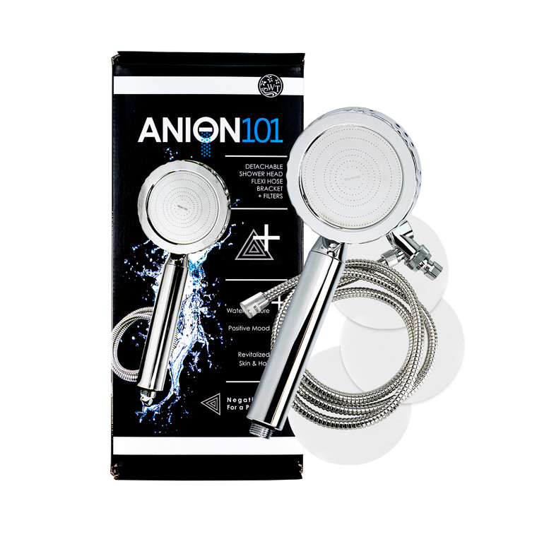 Purchase includes one Anion 101 Shower Head, Hose, Bracket, 3 Sediment Filters & Box