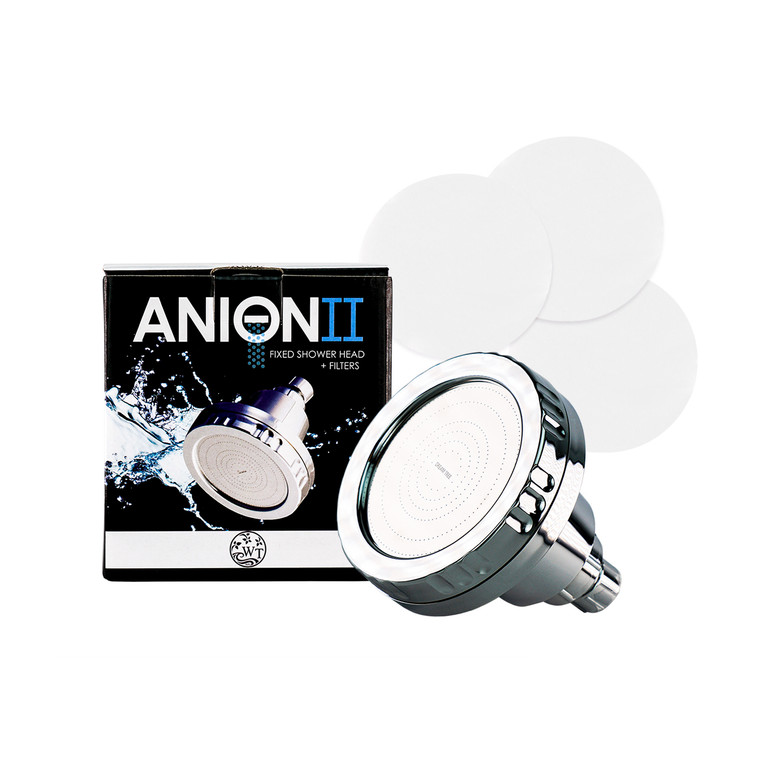 Purchase includes one  Anion II Shower-head with citrus filter & 3 Shower Sediment Filters with Generic Box