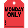 Fluorescent red hang tag, one color