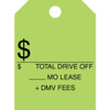 Fluorescent green hang tag, one color