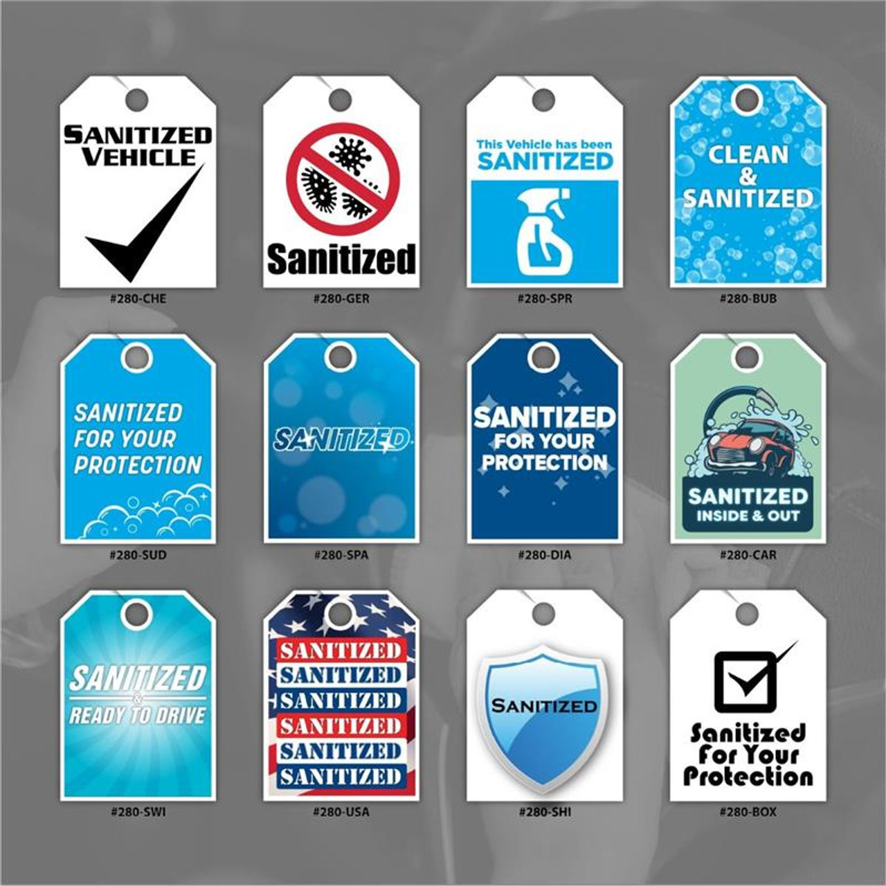 Sanitized Mirror Hang Tags