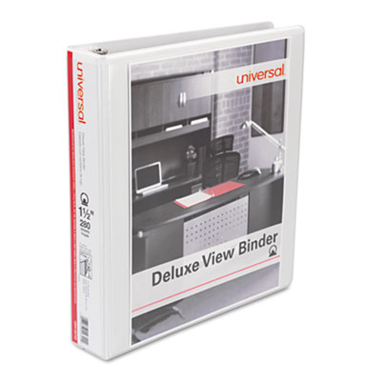 """Deluxe Round Ring View Binder, 1-1/2"""" Capacity, White"""