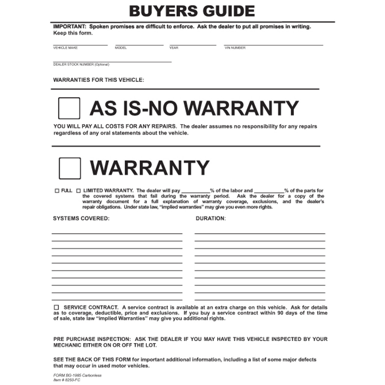 """2 Part Peel n Seal Buyers Guide, 8 1/2"""" x 11""""  -  2 Part, 100 Per Pack"""