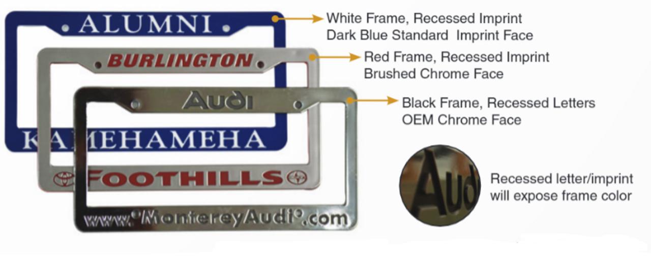 Custom Chrome Faced Engraved Letter License Plate Frames