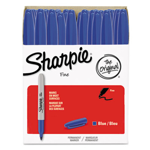 Fine Point Permanent Marker, Blue, 36/Pack