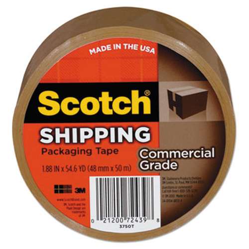 """3750 Commercial Grade Packaging Tape, 1.88"""" x 54.6yds, 3"""" Core, Tan"""