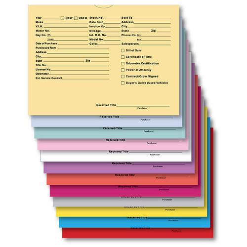 "Vehicle Deal Envelopes (Deal Jackets) - Printed, 9"" x 12"", 100 Per Pack DSA-546"