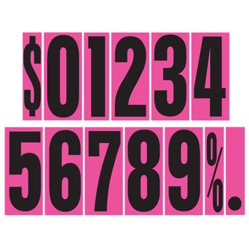"""9 1/2"""" Hot Pink Adhesive Windshield Numbers"""