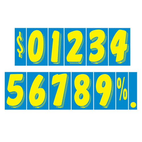 "11 1/2"" Yellow & Blue Adhesive Windshield Numbers"