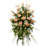 Roses and lillies standing spray by local florist in Burnaby Adele Rae