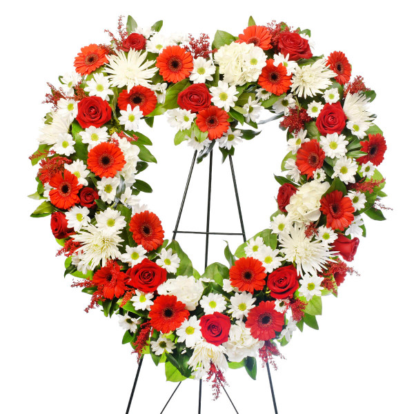 Heart shaped funeral flower heart for delivery in Vancouver and Burnaby.