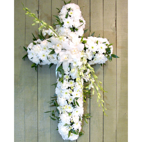 Funeral flower cross for delivery in Vancouver and Burnaby - Adele Rae