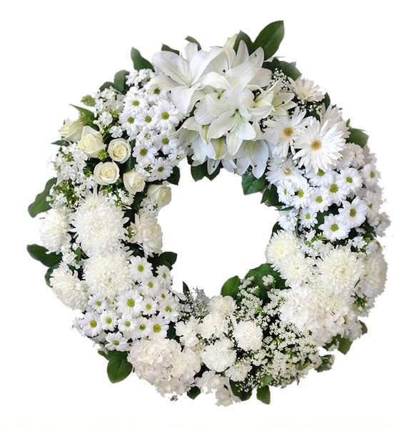 Burnaby BC White Funeral Flower Wreath Tribute - Adele Rae Florist