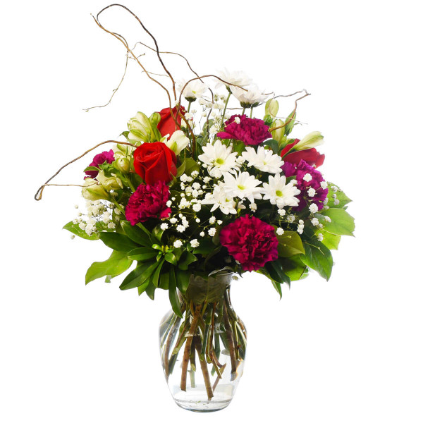 Red rose, daisies , babies breath and carnation floral arrangement Adele Rae.