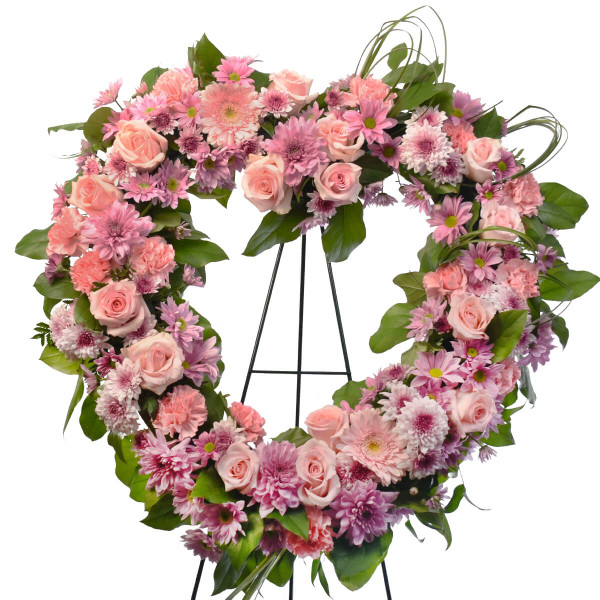 Heart shaped funeral flower wreath for delivery in Vancouver