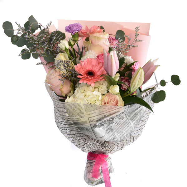 Pink panther bouquet with mixed flowers in pink tones