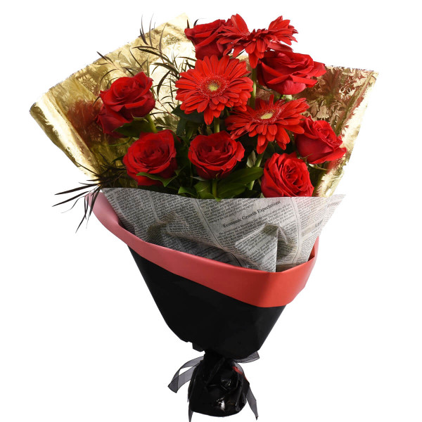 Rose and Gerbera bouquet with elegant wrapping paper