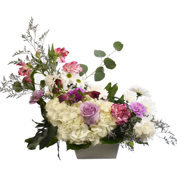 Mixed flower arrangement with hydrangea, caspia, carnations and roses. Adele Rae