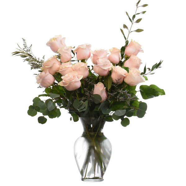 A dozen of pink roses floral arrangement