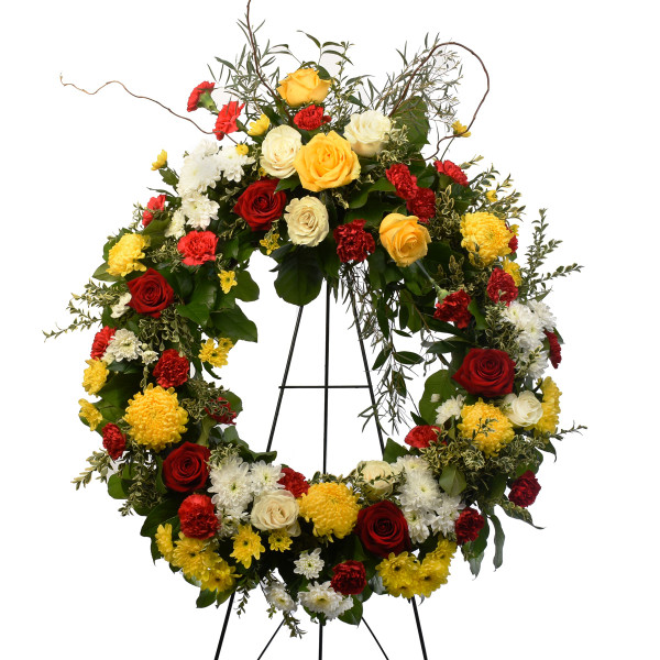 24 inch funeral wreath with bright flowers