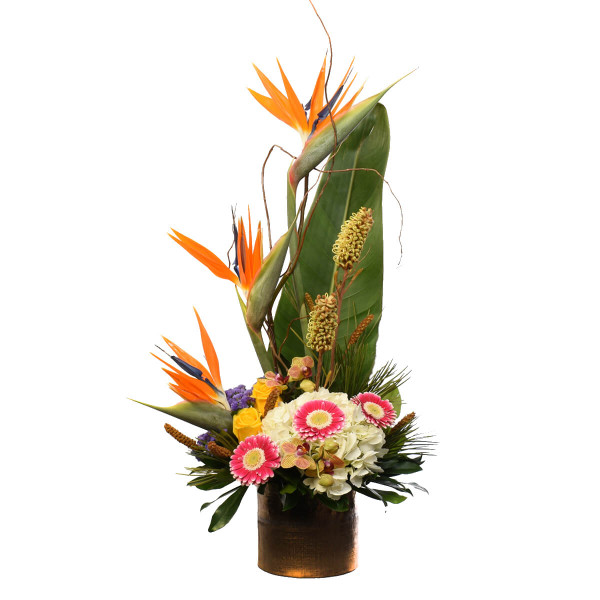 Tropical flower arrangement from florist in Burnaby Adel Rae