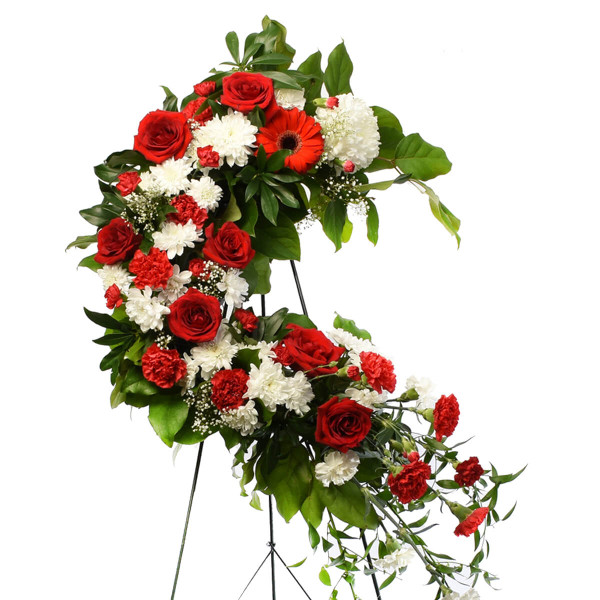 Luxury sympathy wreath 24 inch red and white in Burnaby