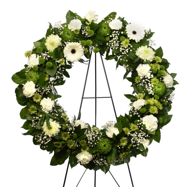 Funeral white flower wreath in Burnaby, BC