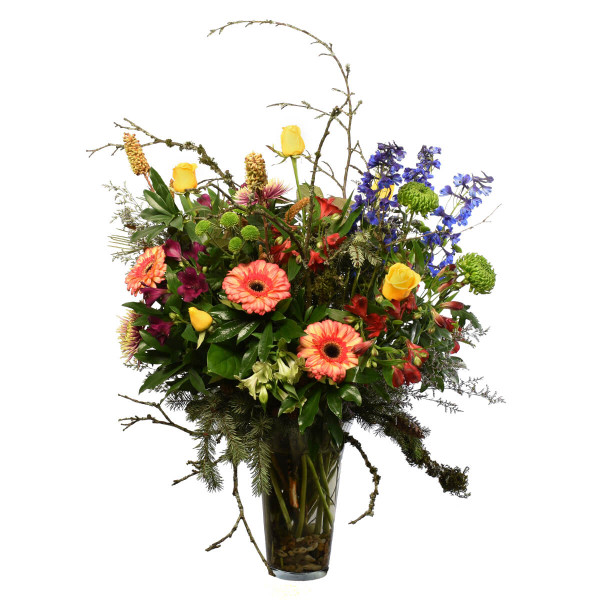 Modern flower sympathy arrangement for delivery in Burnaby.