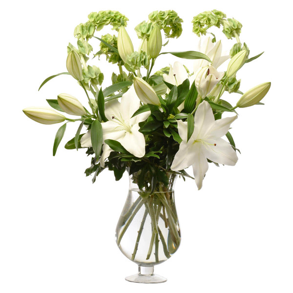 Sympathy and flower arrangement for home in glass container for delivery in Burnaby and Vancouver