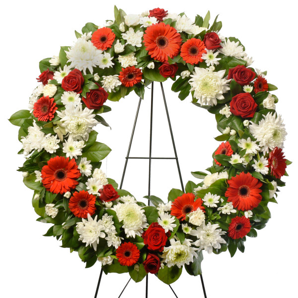 Brights and colourful funeral wreath for sale in Vancouver