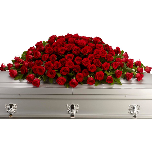 Full spray of crimson roses for delivery in Vancouver and Burnaby.