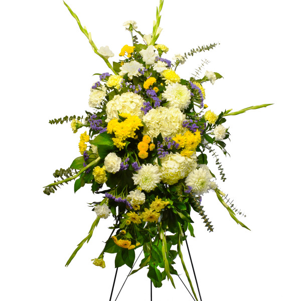 Funeral flower standing spray with yellow flower for delivery in Burnaby