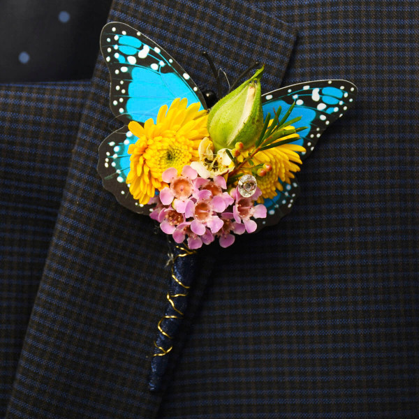 Wax flower boutonniere for a prom or a wedding in Burnaby and Vancouver