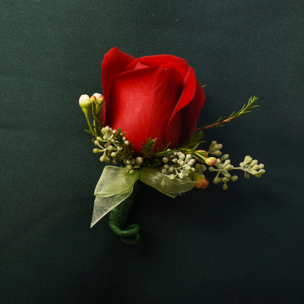 Red Rose Classical wedding or prom boutonniere from Vancouver Florist Adele Rae.