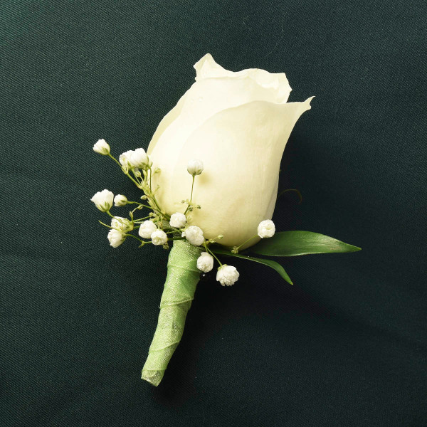White rose boutonniere for wedding or funeral memorial in Vancouver from Adele Rae Florist.