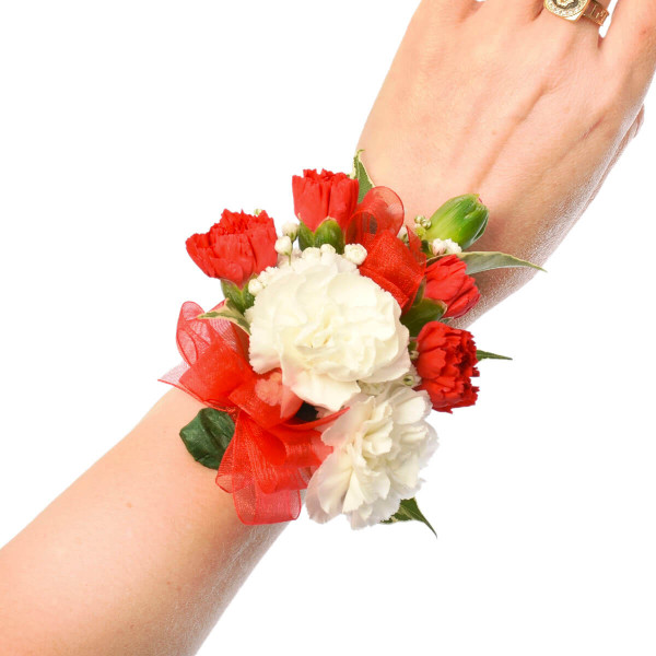 Graduation Corsage with red and white mini carnations in Burnaby and Vancouver | Adele Rae Florist