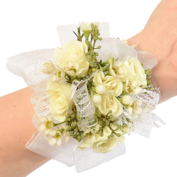 White rose wrist corsage for a wedding in Vancouver | Adele Rae Florist