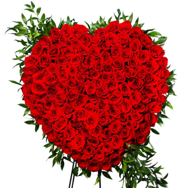 Luxury Red Rose Funeral Heart Delivery Vancouver | Best Funeral Hearts and Crosses in Burnaby | Adele Rae Florist