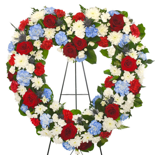 Vancouver Funeral Flower Heart Blue White and Red | Adele Rae